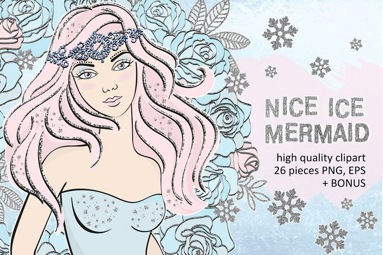 ICE MERMAID Glitter Christmas Illustration Set example image 1