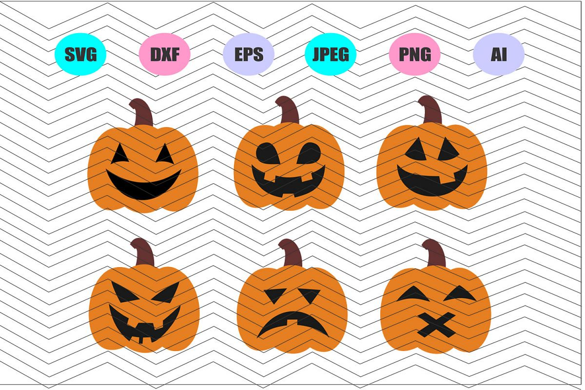 Pumpkin Faces Svg Vector File Silhouette Cricut Design Vinyl example image 1