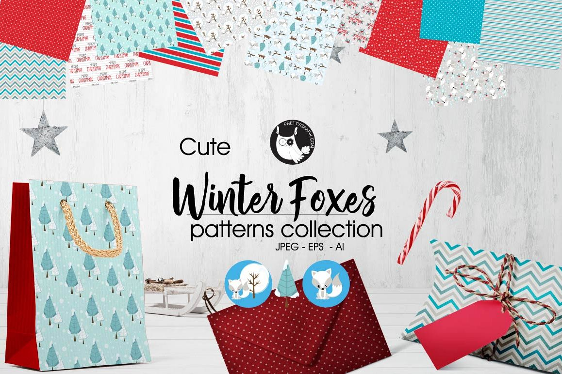 WINTER-FOXES , digital papers example image 1
