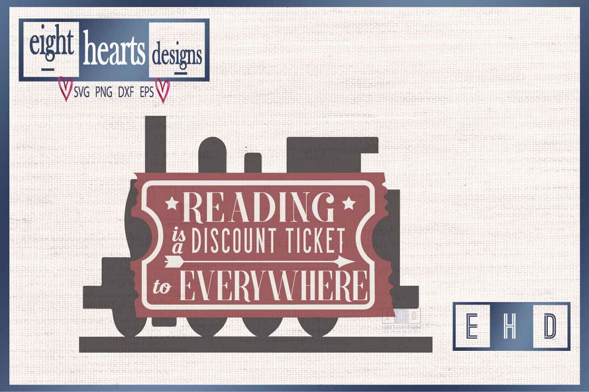 Reading Ticket -SVG PNG EPS DXF - Great quality Cut design example image 1