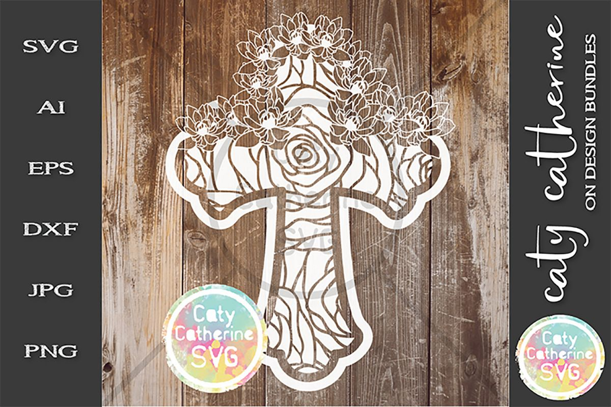 Floral Cross SVG Religious SVG Cut File example image 1