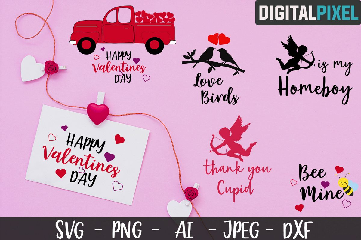 Valentines Day Bundle SVG PNG DXF Valentines Bundle Crafters example image 1