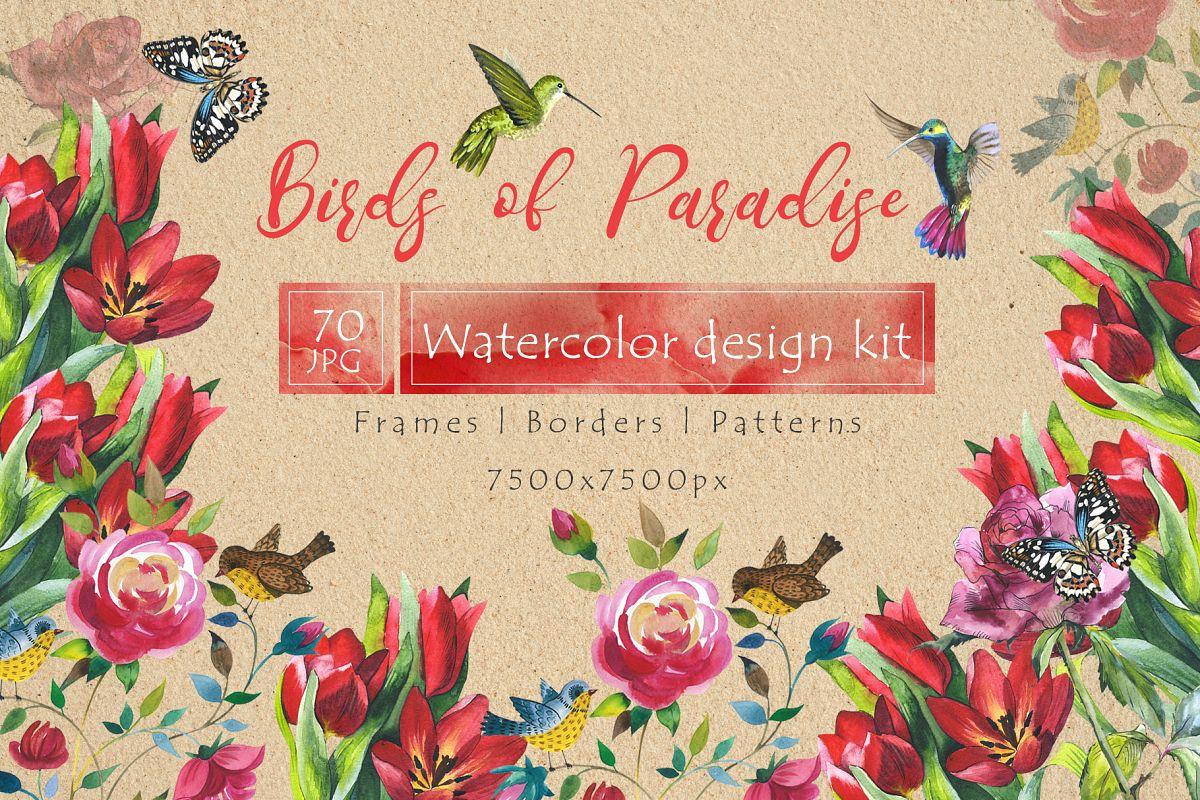 Birds of Paradise JPG watercolor set example image 1