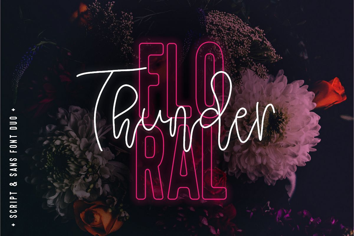 Floral Thunder Font Duo example image 1