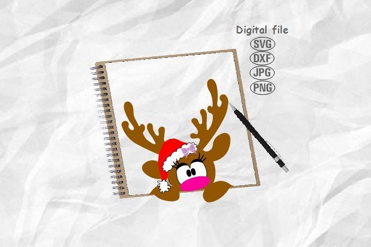 Reindeer Svg, Christmas Reindeer Svg, Doe Svg, Deer Face Svg example image 1