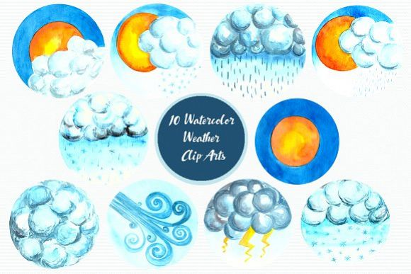 Watercolor Weather Forecast Clip Art example image 1