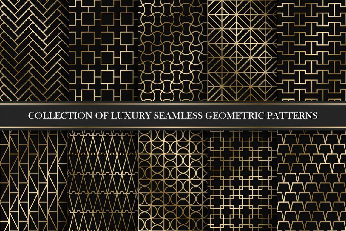 Golden seamless geometric patterns example image 1