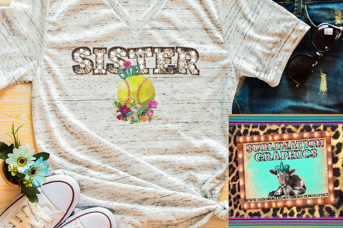Softball Sister Marquee Sublimation Download example image 1