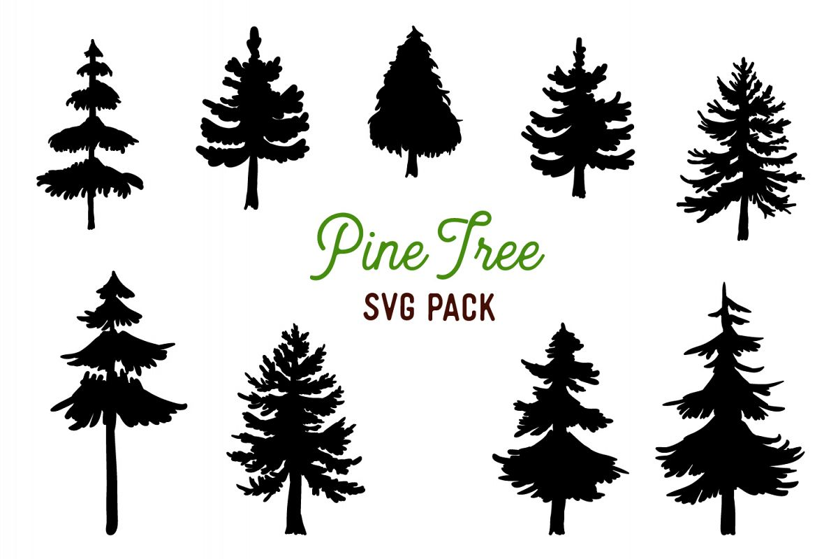 9 Vector Pine Tree Silhouette Illustrations example image 1