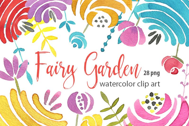 Watercolor colored fairy flowers png example image 1