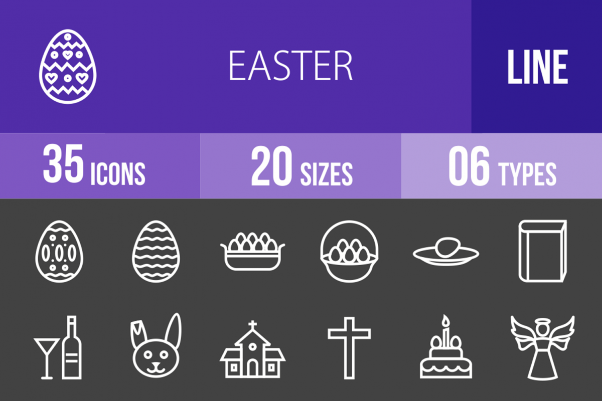 35 Easter Line Inverted Icons example image 1