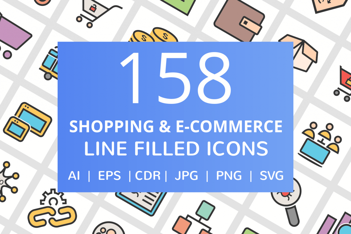 158 Shopping & E-Commerce Filled Line Icons example image 1