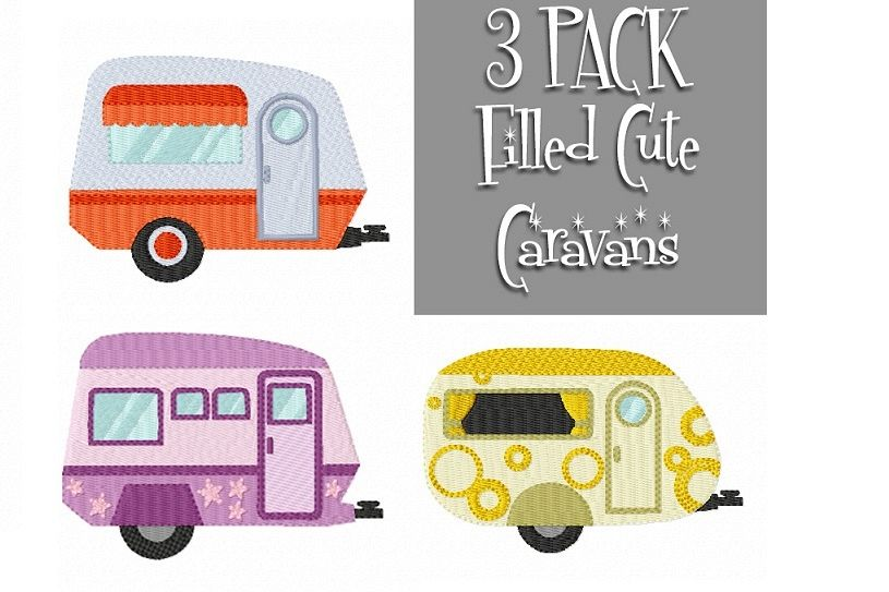 CARAVAN Multipack ~ 3 Filled Caravan Machine Embroidery Designs - Instant Download ~ Let's Go On Holidays! example image 1