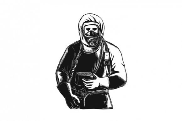 EMT Wearing Hazmat Suit Scratchboard  example image 1