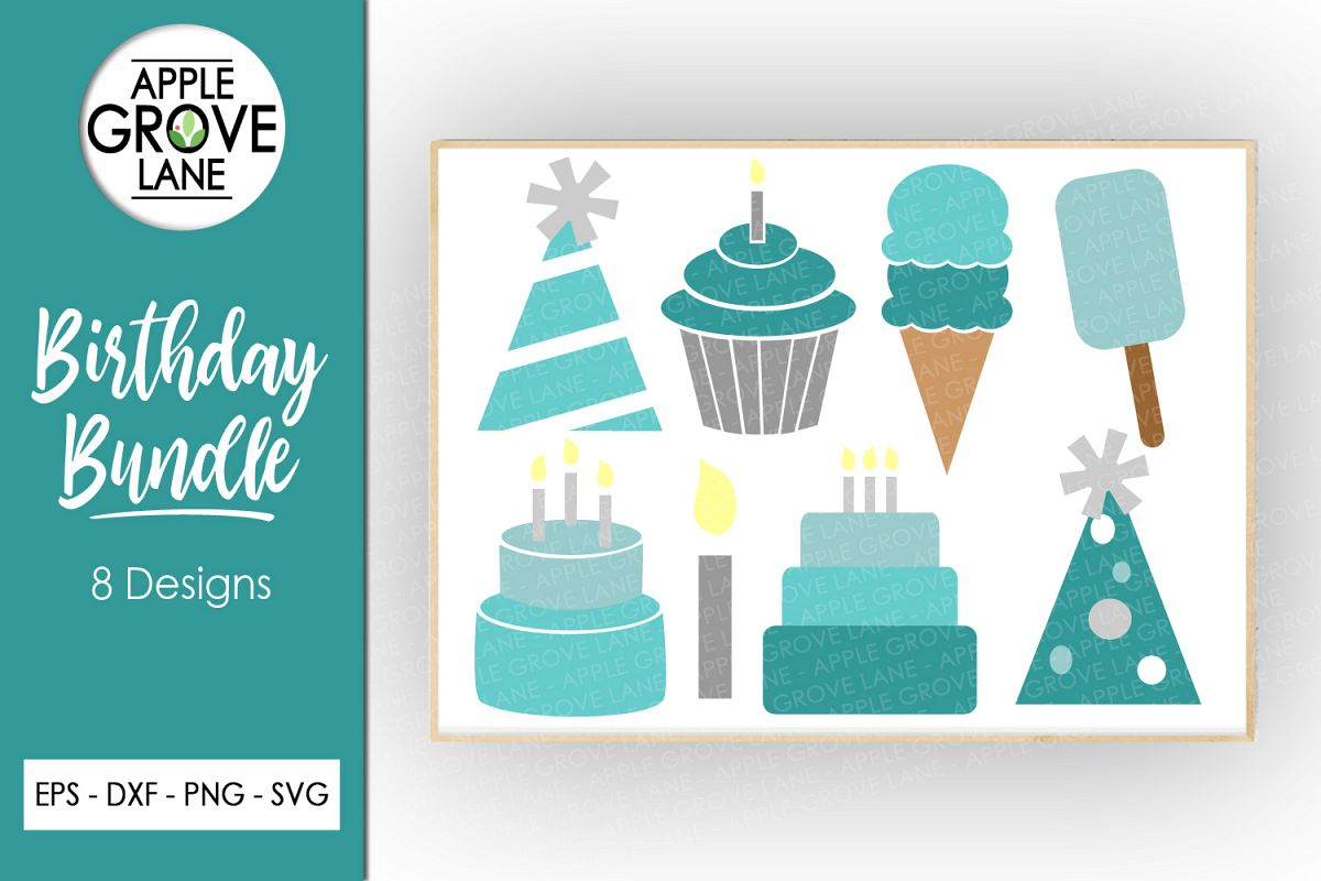 Blue Birthday Svg Bundle - 8 designs included - Svg File example image 1
