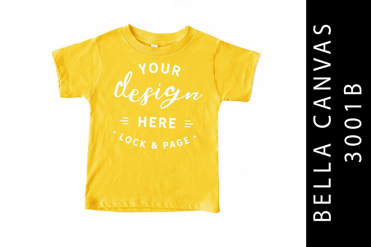 Yellow Kids Bella Canvas 3001B T-Shirt Mockup Toddler example image 1