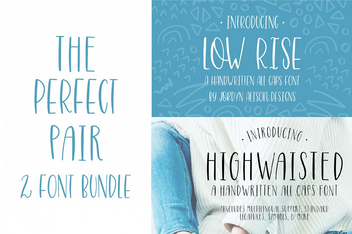 The Perfect Pair, Highwaisted and Low Rise Font Bundle example image 1