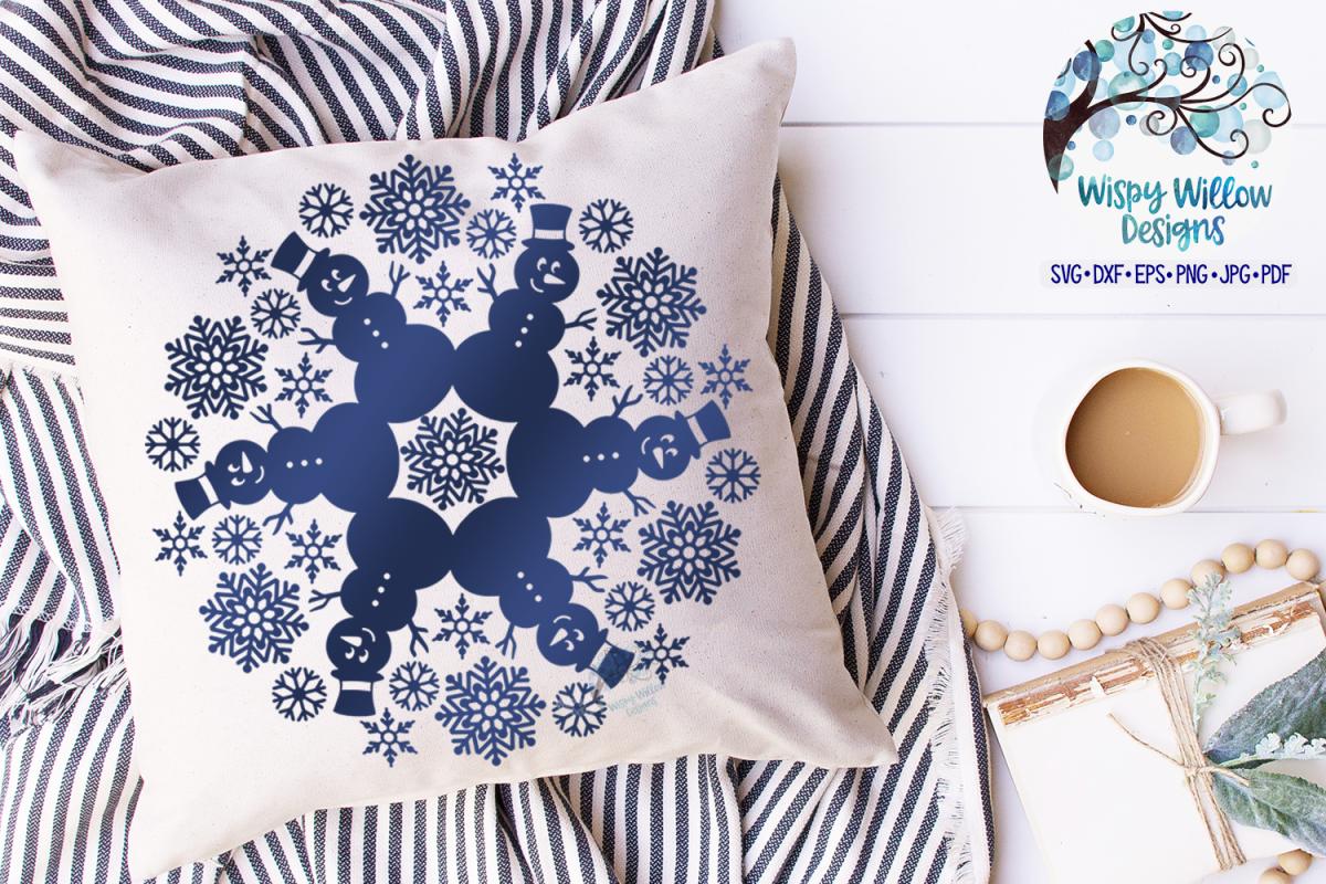 Snowman Mandala SVG | Winter Mandala SVG Cut File example image 1