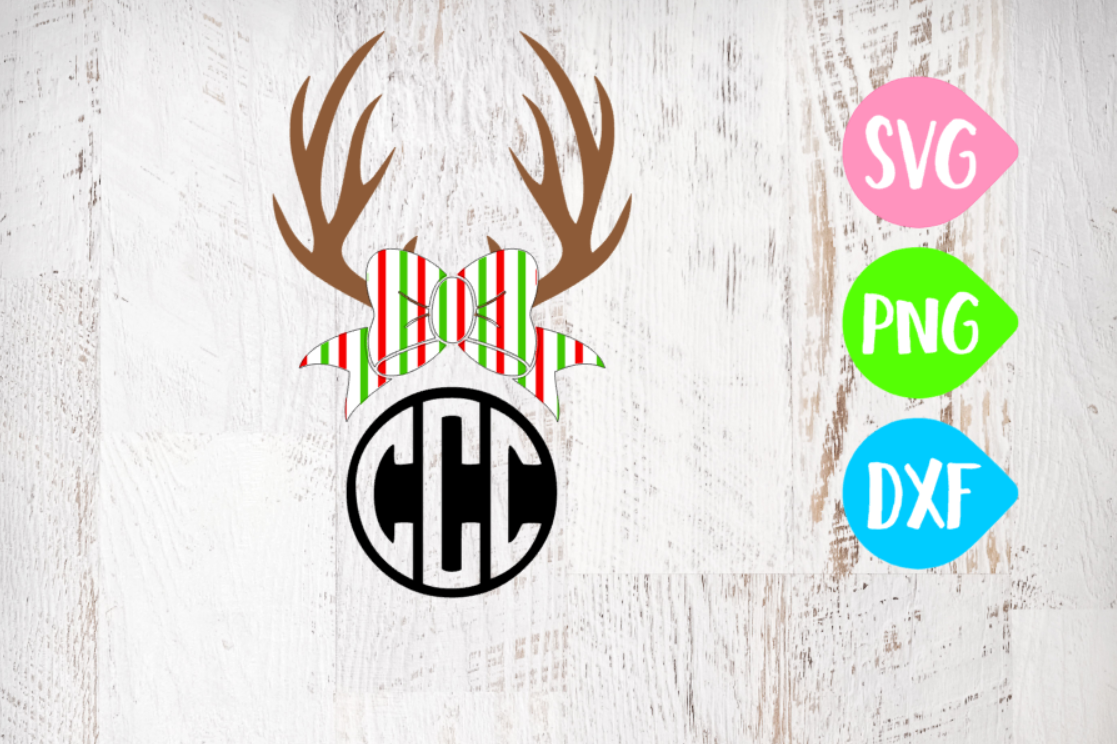 Antler Svg, Christmas Svg, Christmas Antlers, Christmas Bow, Red white and Green Bow example image 1