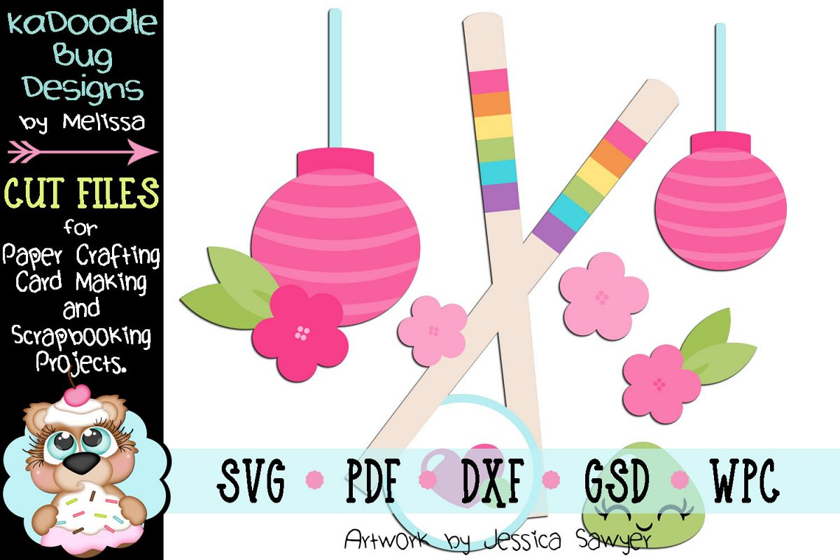 Beautiful Chinese Chopsticks Cut File - SVG PDF DXF GSD example image 1