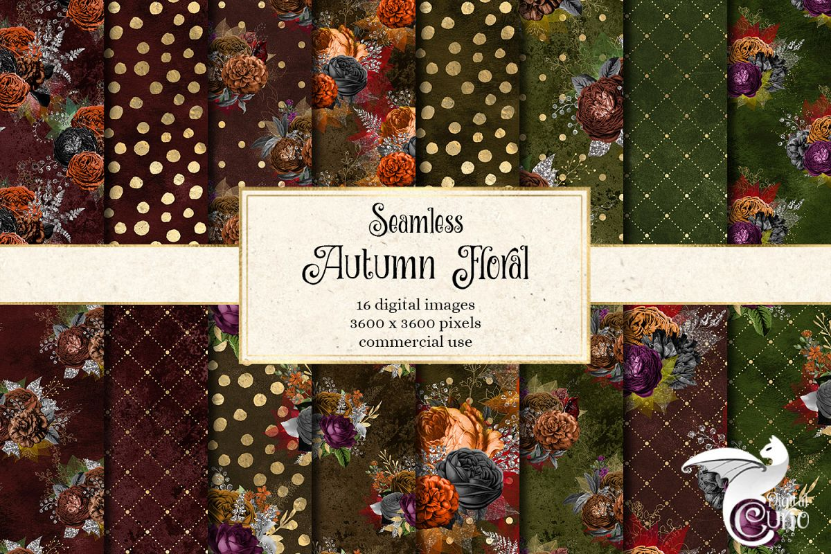 Autumn Floral Digital Paper example image 1