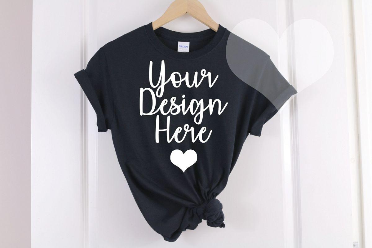 Black Gildan 500 T shirt Unisex - Hanging Mockup example image 1