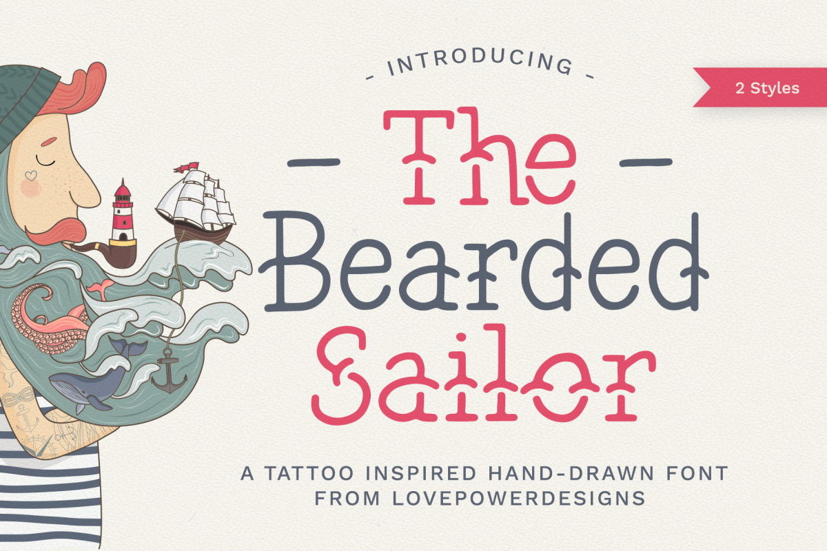 The Bearded Sailor - Tattoo Font / Line Font / Logo Font example image 1