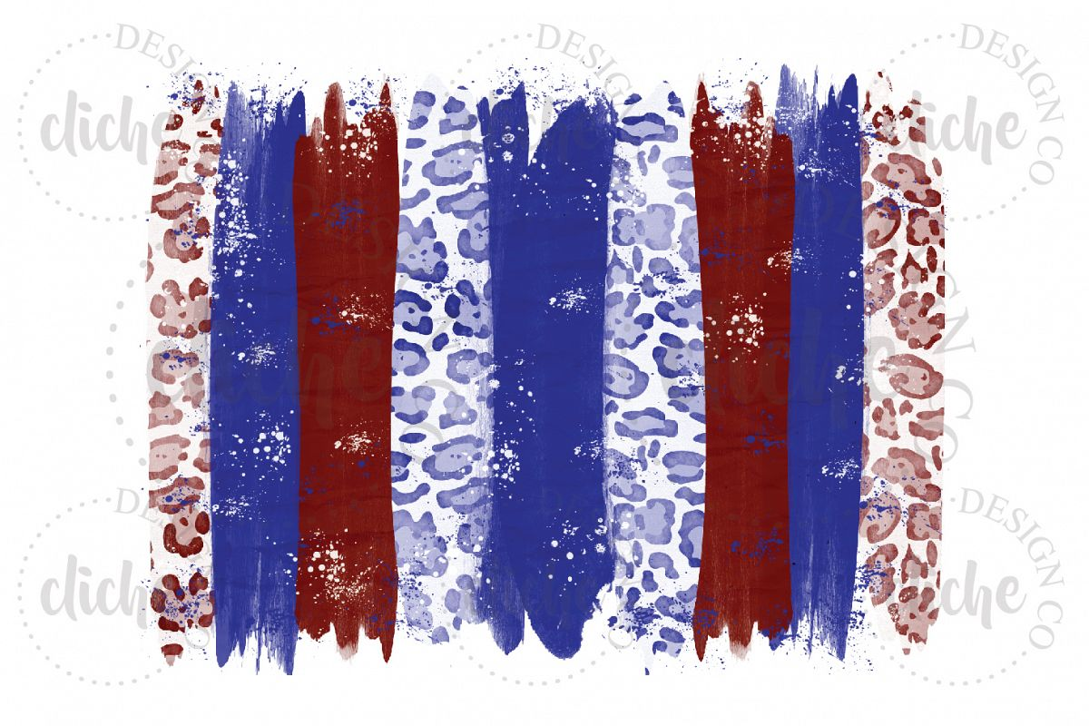 Blue Red Paint Stroke Sublimation Design Background example image 1