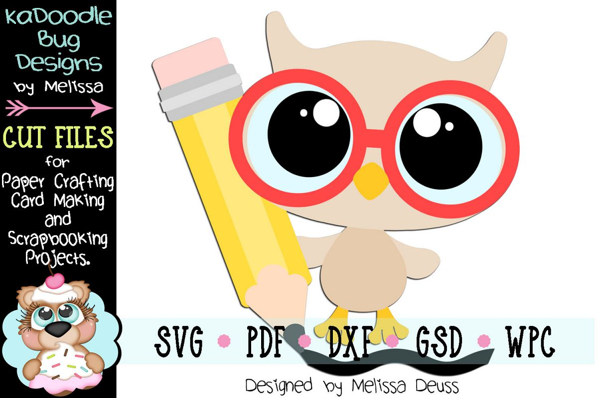 Writing Baby Owl Cut File - SVG PDF DXF GSD WPC example image 1