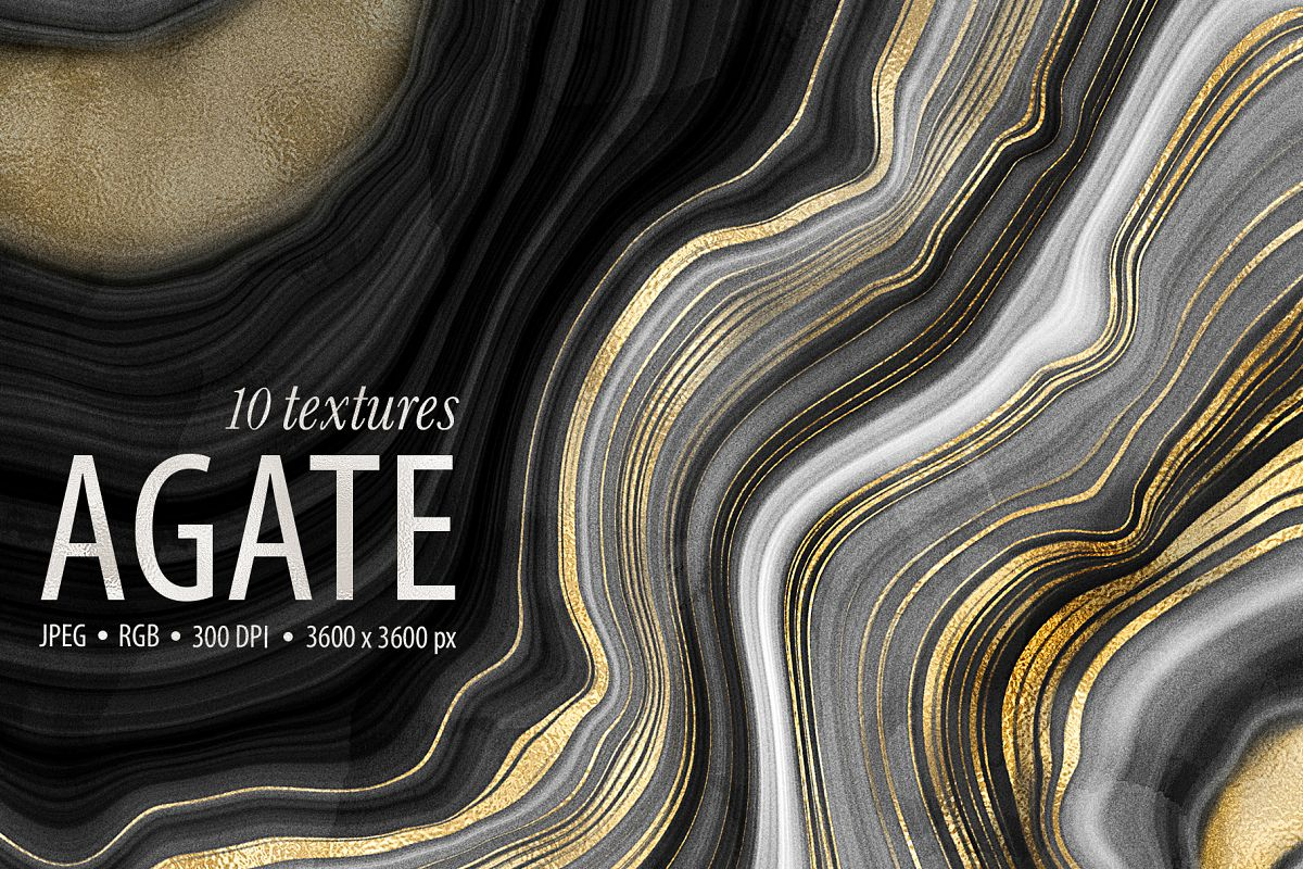 10 Agate Stone Digital Papers - Gold Veined Geode Textures example image 1