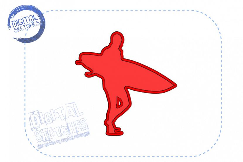 Surfer Surfing Sport Applique Machine Embroidery Design example image 1