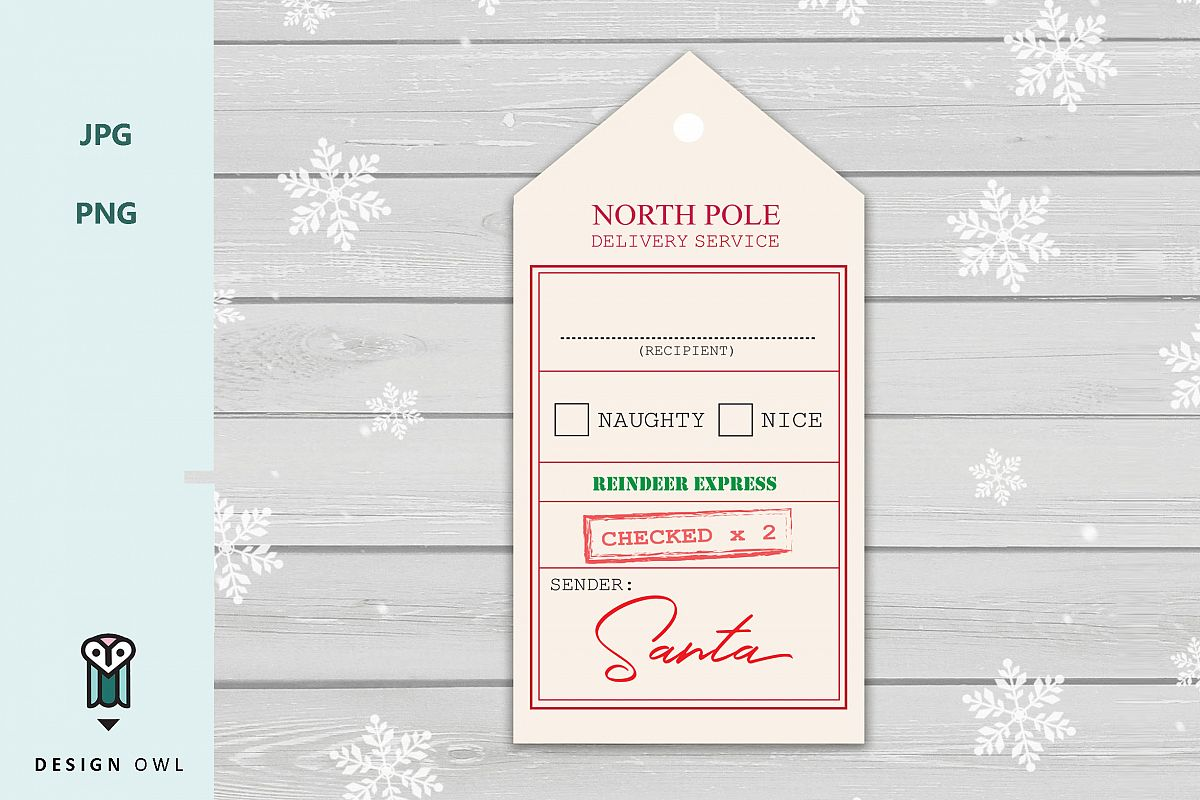 graphic relating to Gift Tag Printable identified as North pole transport assistance - Xmas reward tag printable