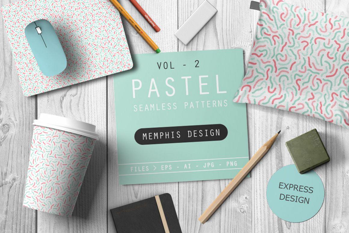 Memphis seamless pastel patterns example image 1