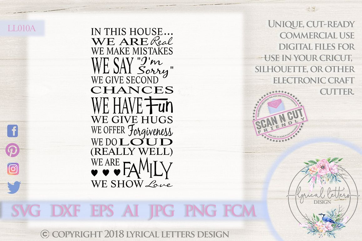 Family Rules SVG DXF FCM Cut File LL010A example image 1