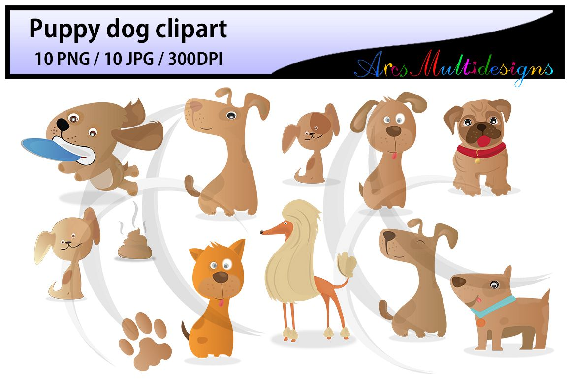 puppy dog clipart / Digital Clip Art for Scrapbooking Card Making Cupcake Toppers Paper Crafts / doodle dogs / puppy doodles / cute dogs example image 1