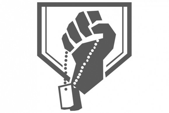 Soldier Hand Clutching Dogtag Crest Retro example image 1