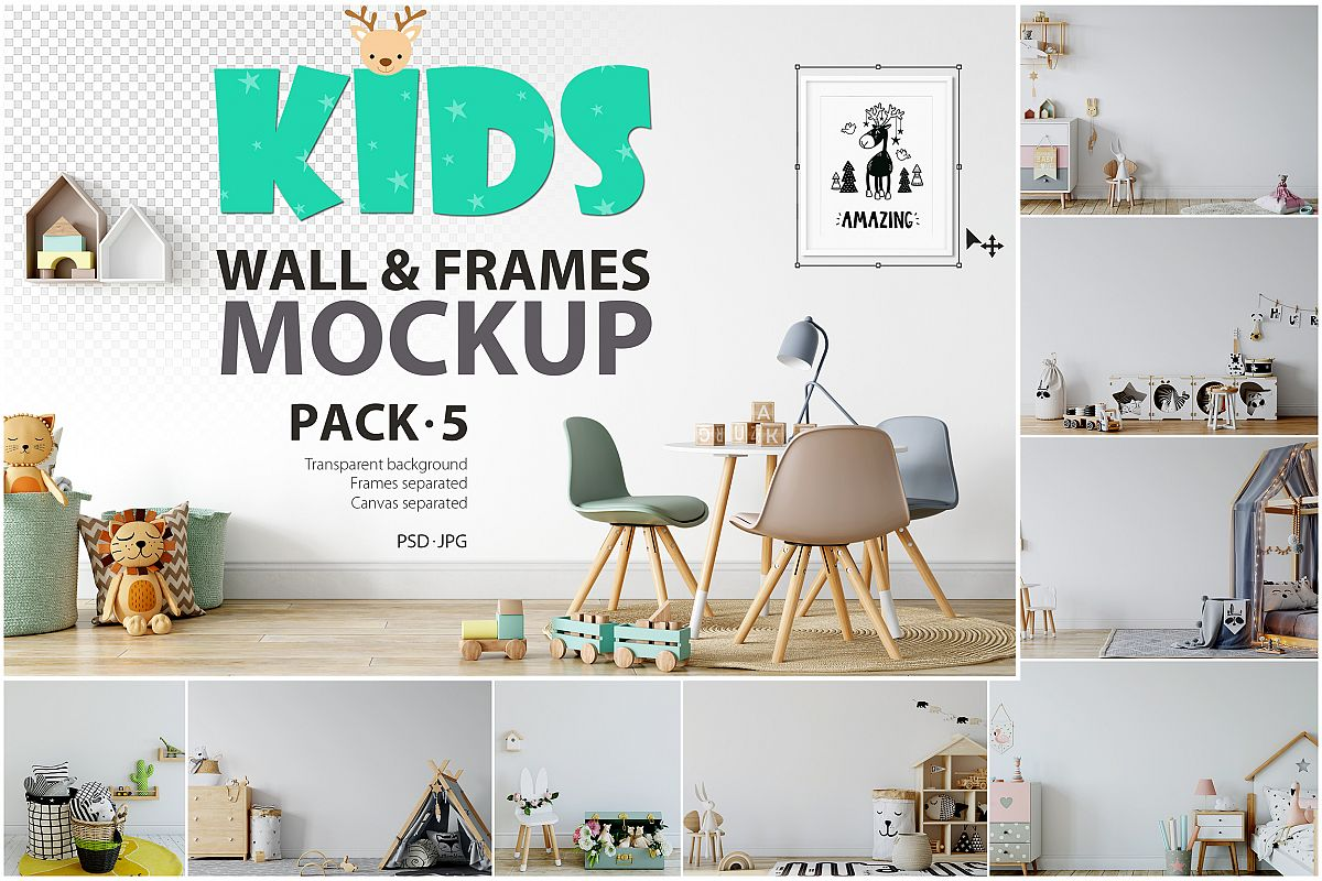 Kids Frames & Wall Mockup Bundle - 5 example image 1