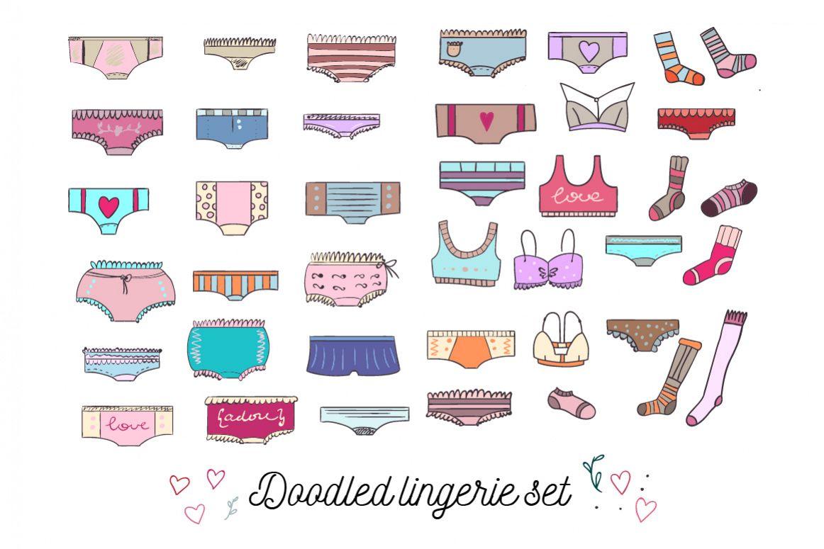 Doodled lingerie set example image 1