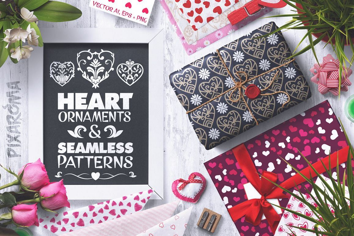 100 Heart Vector Ornaments and Seamless Patterns example image