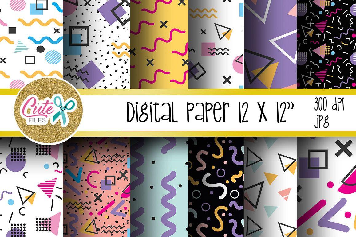 Retro Digital Paper, colorful digital paper example image 1