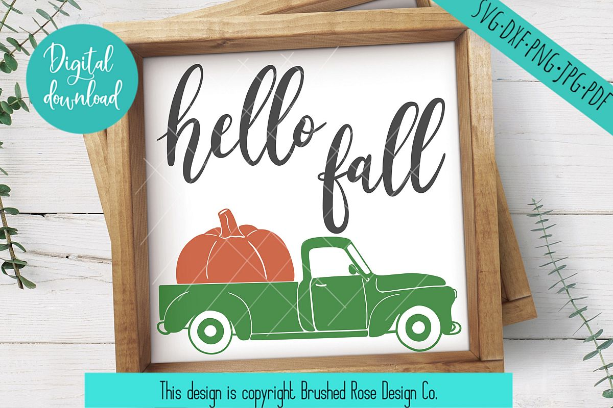 hello fall svg, truck clipart, hello fall clipart, truck svg example image 1