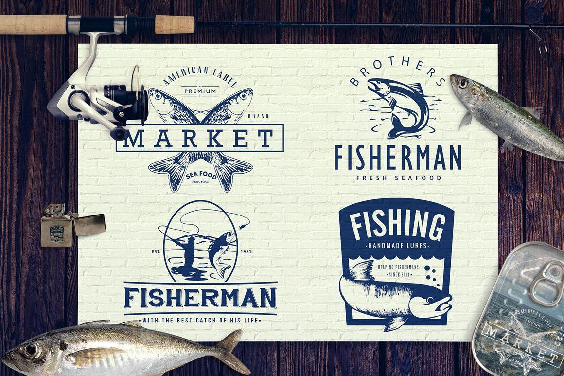 Fishing Vintage Badges Logos / Fish Logo / Vintage Fish Logo example image 1