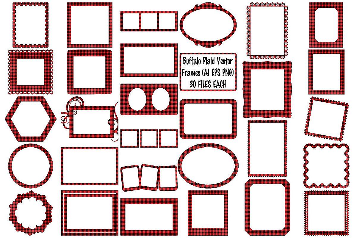 Buffalo Plaid Vector Fraimes AI EPS Vecor & PNG example image 1