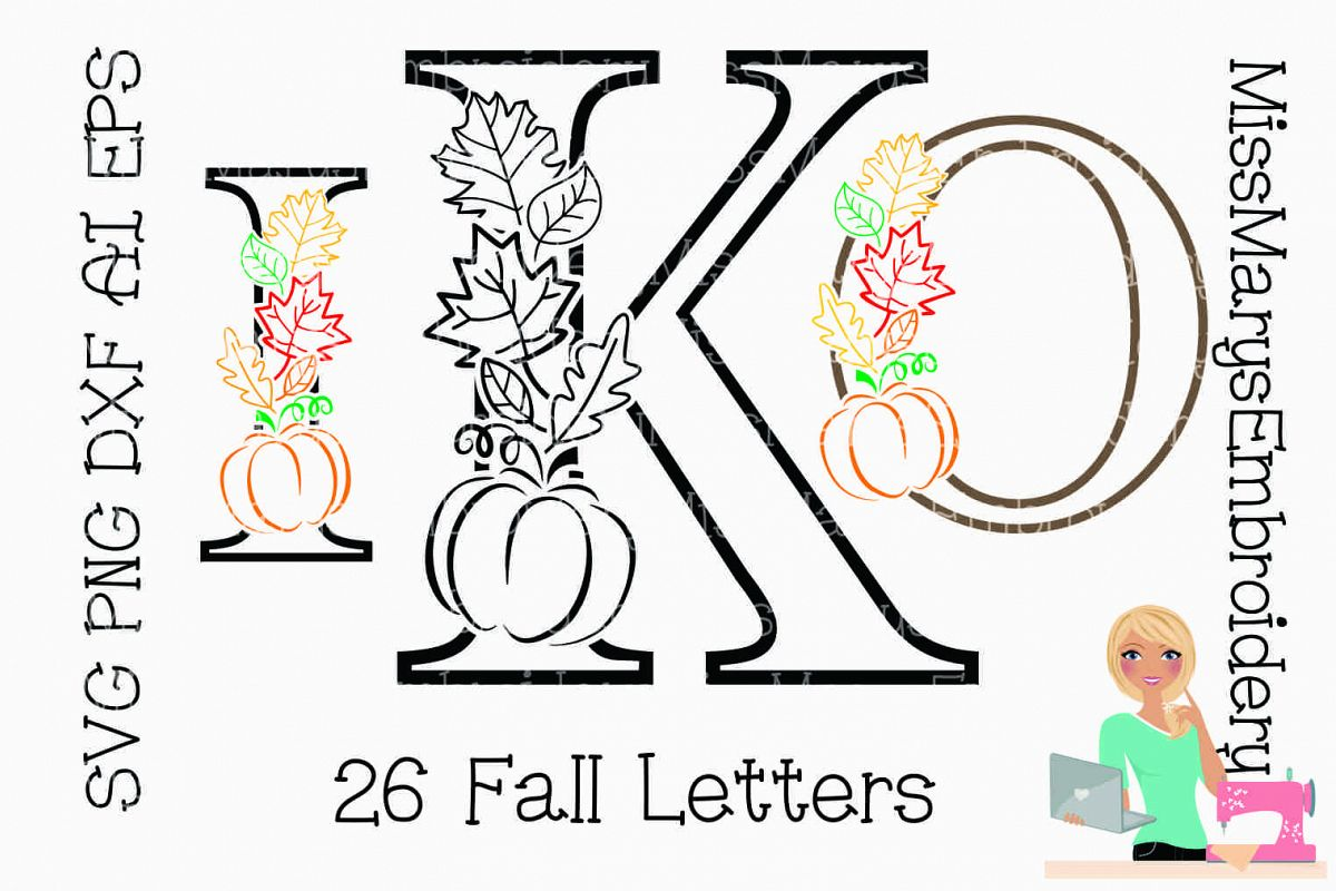 Fall Pumpkin Leaf Letters SVG Cutting File PNG DXF AI EPS example image 1