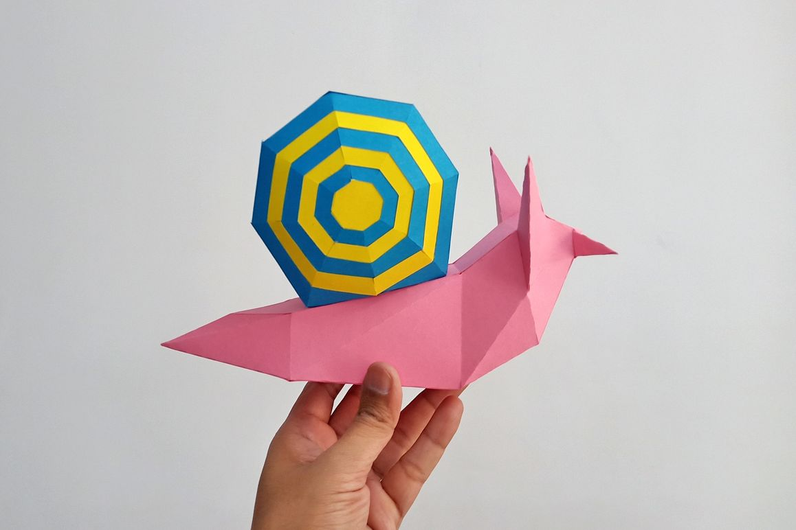 DIY Papercraft Snail,Paper Snail model,Printables,Paper toy example image 1