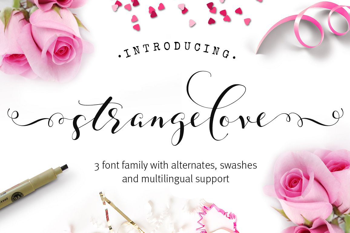 Strangelove Calligraphy Font - wedding font example image 1