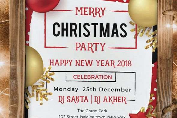Merry Christmas and New Year Party Flyer example image 1