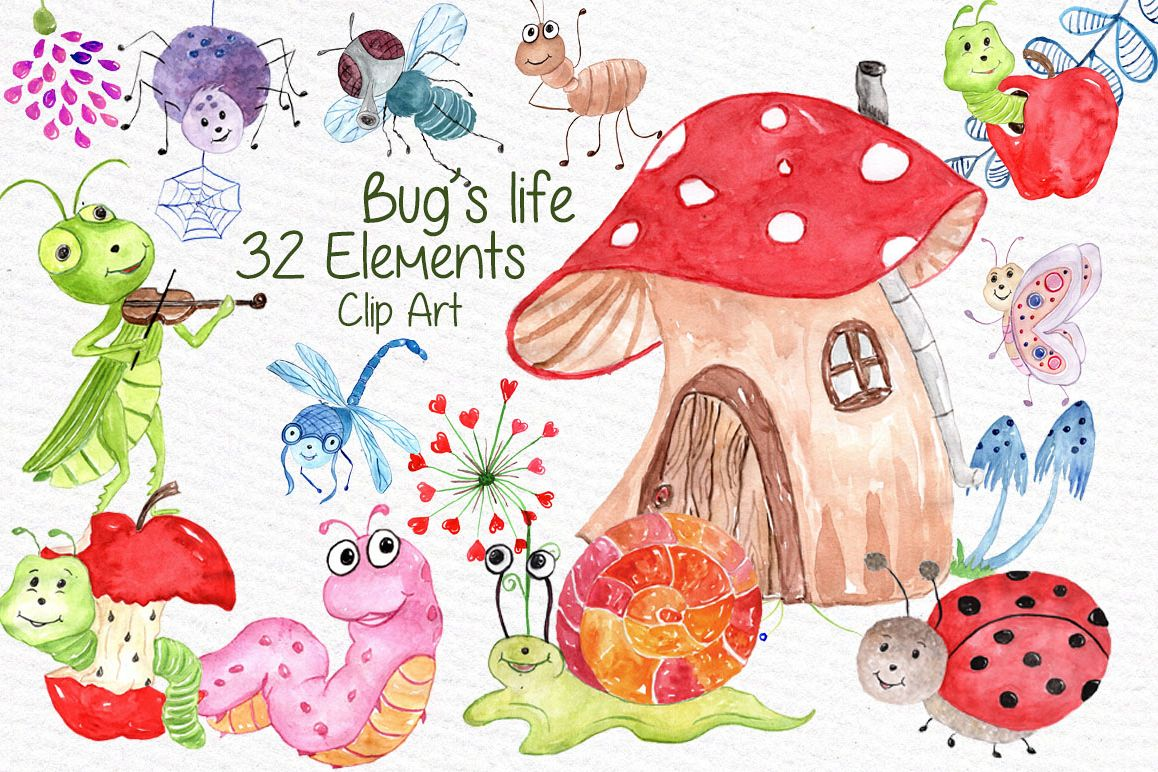 Watercolor bugs clipart example image 1