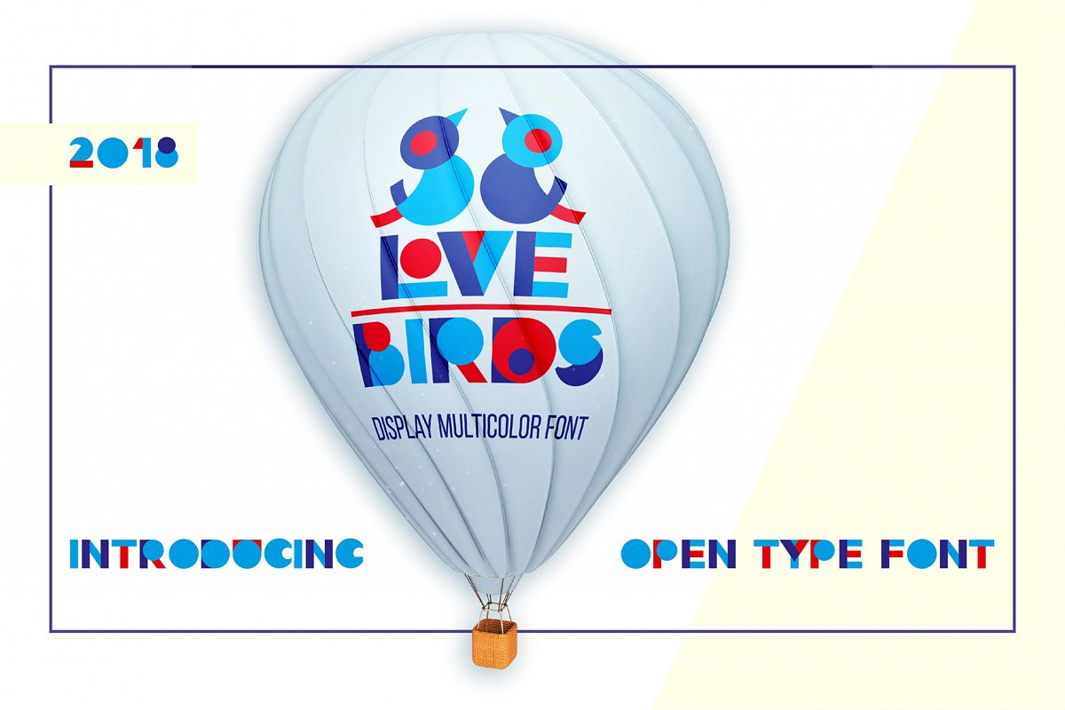 LOVE-BIRDS multicolor font example image 1
