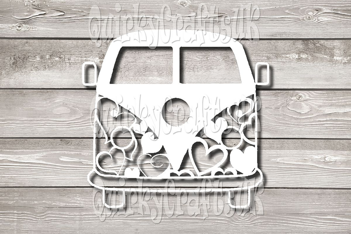 Campervan Hearts papercutting templates|PNG/PDF/SVG/DXF example image 1